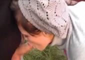 Junges Girl beim blasen und Samen schlucken